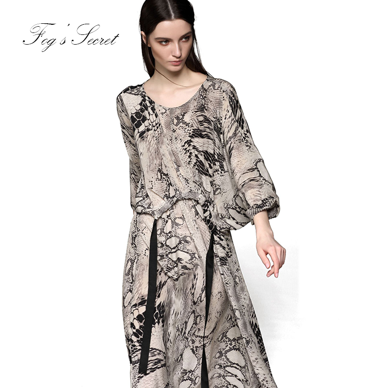 Silk Dress For Women Brand Real silk Dress Loose Black 2019 Trend Animal pattern Printing M L XL Summer in Dresses from Women 39 s Clothing