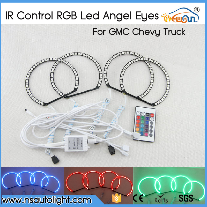 ФОТО For GMC Sierra Chevrolet Silverado 1500 2500HD 3500HD Excellent Angel Eyes kit Multi-Color Ultrabright 7 Color RGB LED Halo Ring