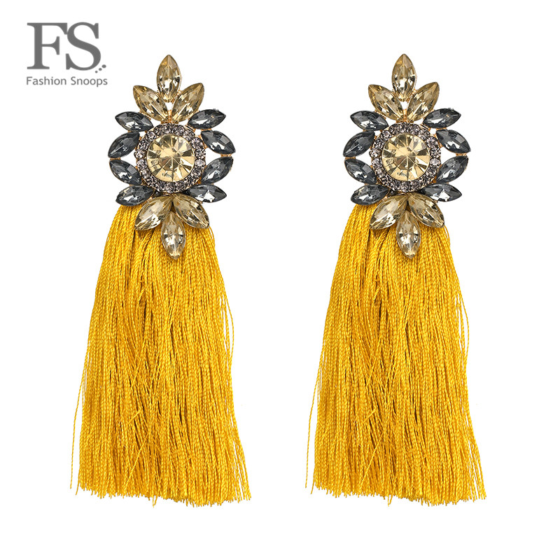 2018 Hot sale 9 Colors Long Tassel Earrings For Women Crystal Drop Earrings For Wedding Fashion Statement Jewelry Wholesale 30(China)