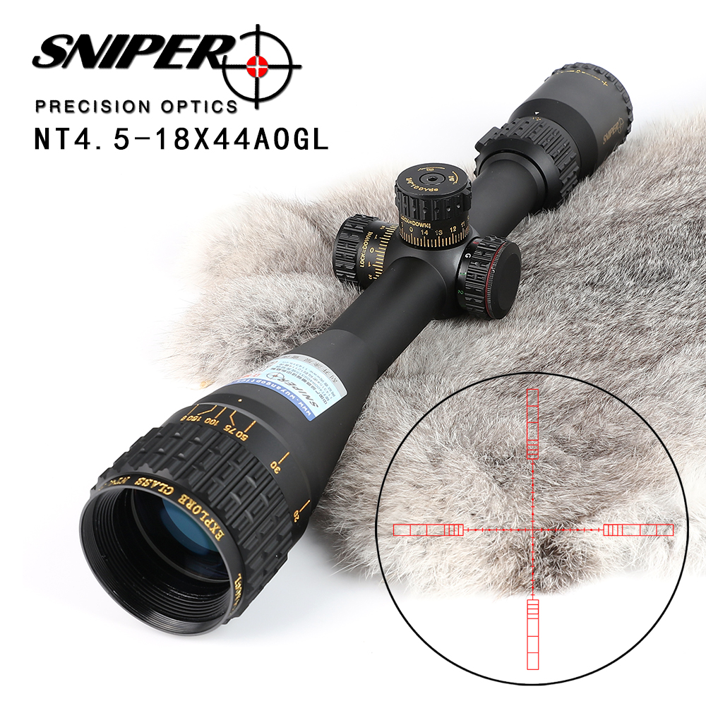 SNIPER NT 4 5 18X44 AOGL Hunting Riflescopes Tactical Optical Sight Full Size Glass Etched Reticle