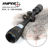 SNIPER NT 4.5 18X44 AOGL Hunting Riflescopes Tactical Optical Sight Full Size Glass Etched Reticle RGB Illuminated Rifle Scope