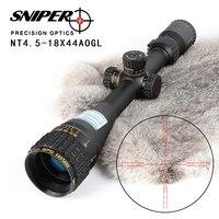 SNIPER NT 4 5 18X44 AOGL Jagd Zielfernrohre Taktische Optische Anblick Volle Größe Glas Geätzt Absehen RGB Beleuchtet zielfernrohr-in Zielfernrohre aus Sport und Unterhaltung bei