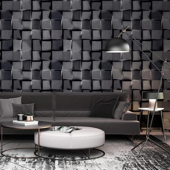 Grey White Faux Brick Wallpaper Stone For Walls 3 d Effect Vinyl Black Geometric Wallpapers Wall Paper Roll Home Decor