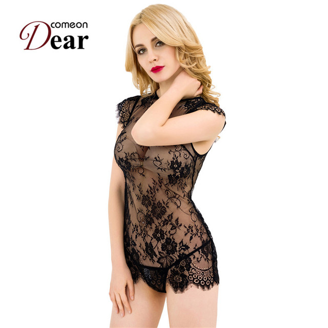 RB80311 Black Lace Women Sexy Babydoll 2017 New Style Erotic Lingerie Transparent Soft Material Sexy Underwear Women Set