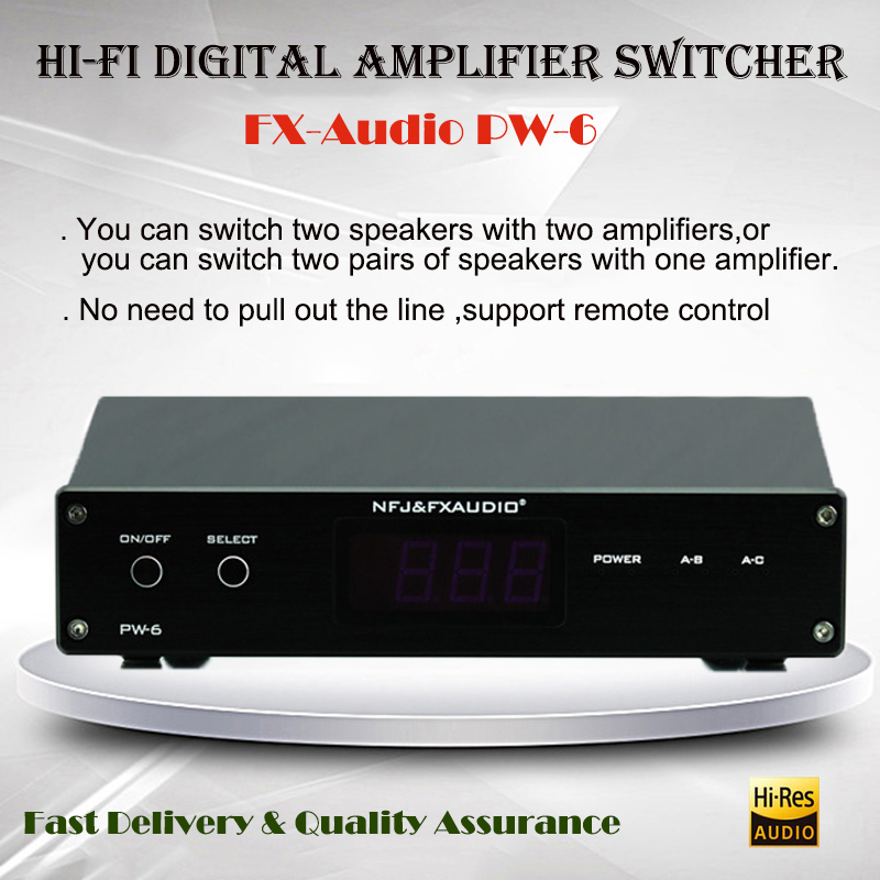 FX-Audio PW-6 Amplificador HI FI Digital Power Amplifier Speaker Switcher 2 in 1 out 1 In 2 Out Amp Converter Audio Remoter