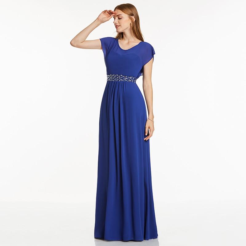 Tanpell scoop neck evening dress royal blue cap sleeves floor length a line gown cheap women beaded prom long evening dresses