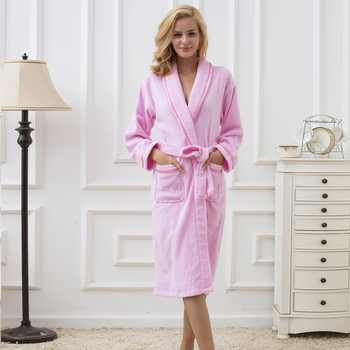 Bathrobe Men Cotton Thick Towel Fleece Male Dressing Gown Towel Sleepwear Pure Color Nightgown Kimono For Long Flannel Pyjamas