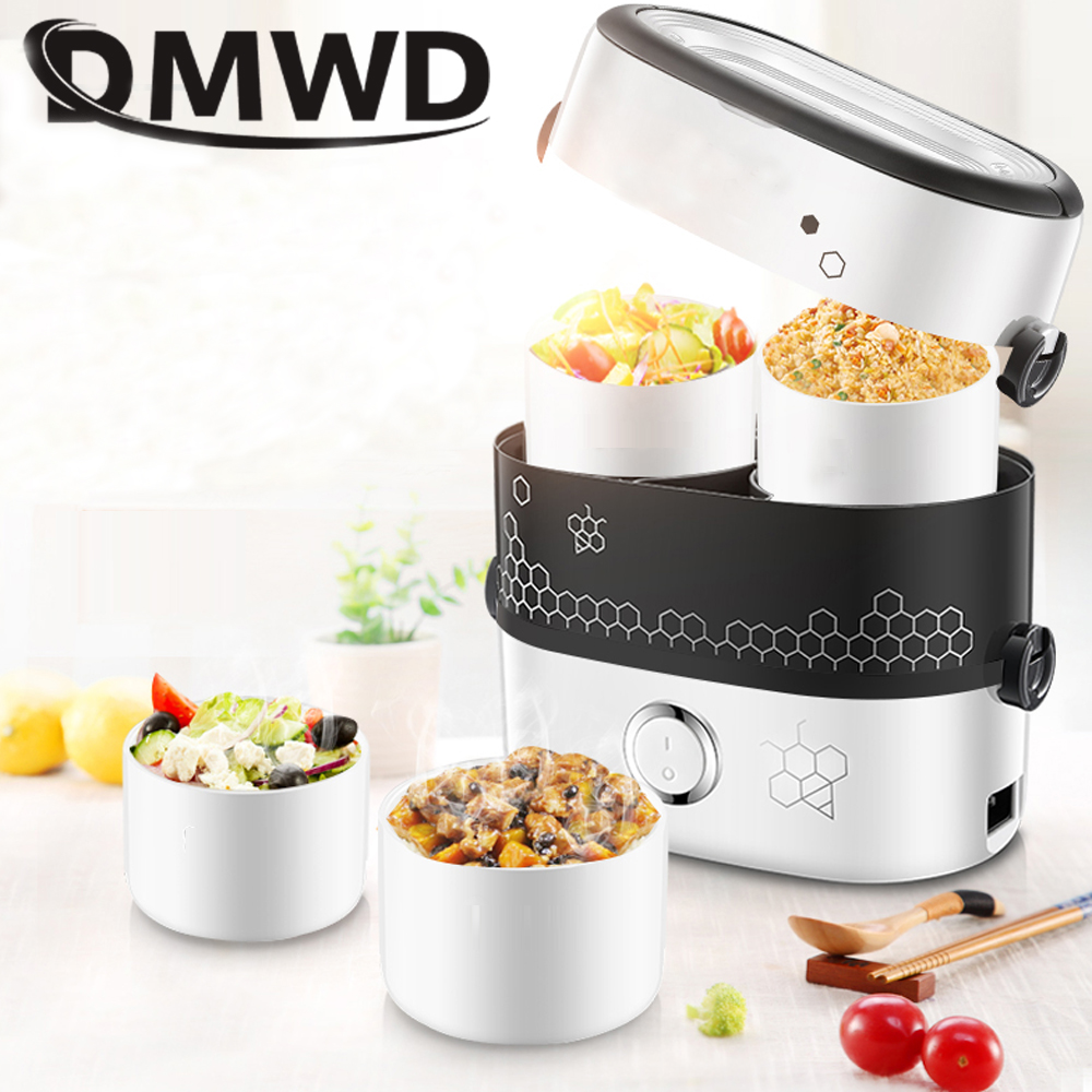 DMWD MINI Stew Rice Cooker Steamer Heating Electric Thermal Lunch Box 4 Ceramics Food Container Warmer Meal Heater Lunchbox 1.5L dmwd 12v 24v mini rice cooker car truck soup porridge cooking machine food steamer electric heating lunch box meal heater warmer