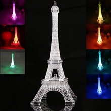 3D Romantic France Eiffel Tower/Paris Tower LED Night Light RGB Bedroom Table Lamp Kids Friends Family Gifts Home Decor(China)