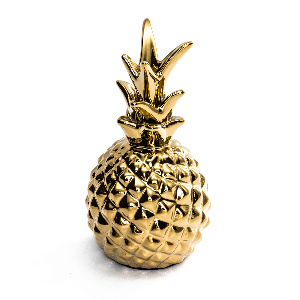Golden Ceramic pineapple ornaments Figurines Ceramic fruit model miniatures decoration Crafts Christmas home office decor Gifts