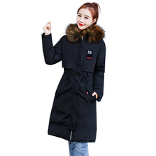 2018 New Fur Collar Winter Parkas Womens Double-sided Hooded Loose Slim Cotton Coat Solid Color Jacket