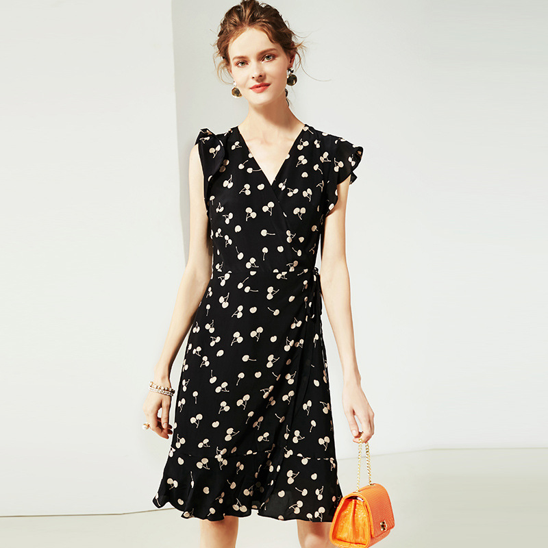 Zomer Jurk 2019 vrouwen New Fashion Zijde Bedrukt V hals Mouwloze Slanke A lijn Casual Dress Knielengte S XL