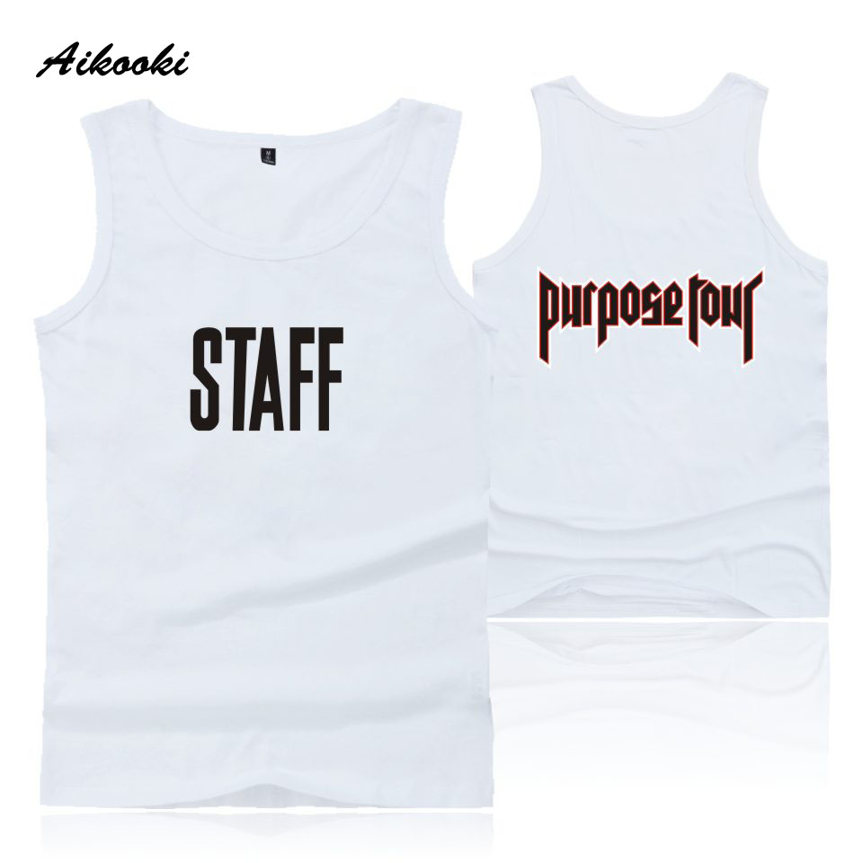 33956b91efc62 US $3.7 47% OFF|Aikooki Justin Bieber STAFF Fashion Brand Man Women  Sleeveless Hip Hop Popular Summer Tank Top Vest Men's Casual Cotton  Clothes-in ...