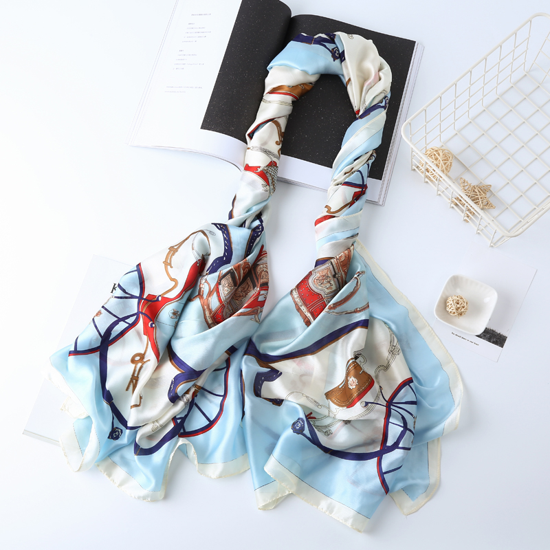 Silk   Scarf   Ombre   Wrap   Colorful Flower   Scarves   Elegant Foulard Hijab Luxury Silky Brand   Scarf   Bufandas Cape Hair   Scarves   264