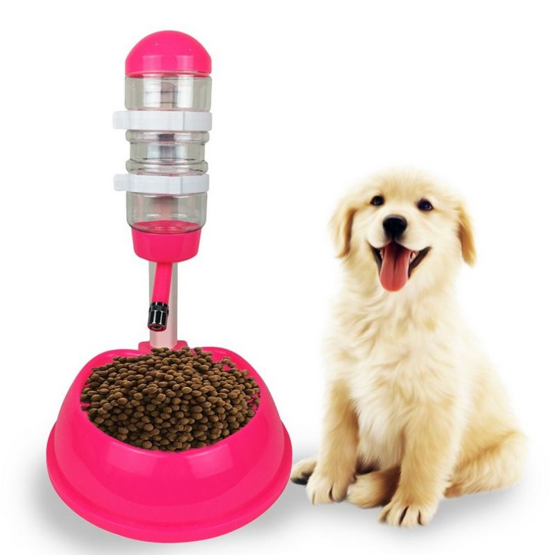 Automatic Pet Water Fountain Drinker With Food Dish Dog And Cat Dispenser Stand Feeder Bottle Plastic Drinking Pet Supplies