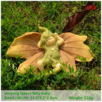 ED Original Quality Design Sleeping Leaf Fairy Angel Figurine Baby Outdoor Statue Decoration Miniature Fairy Garden