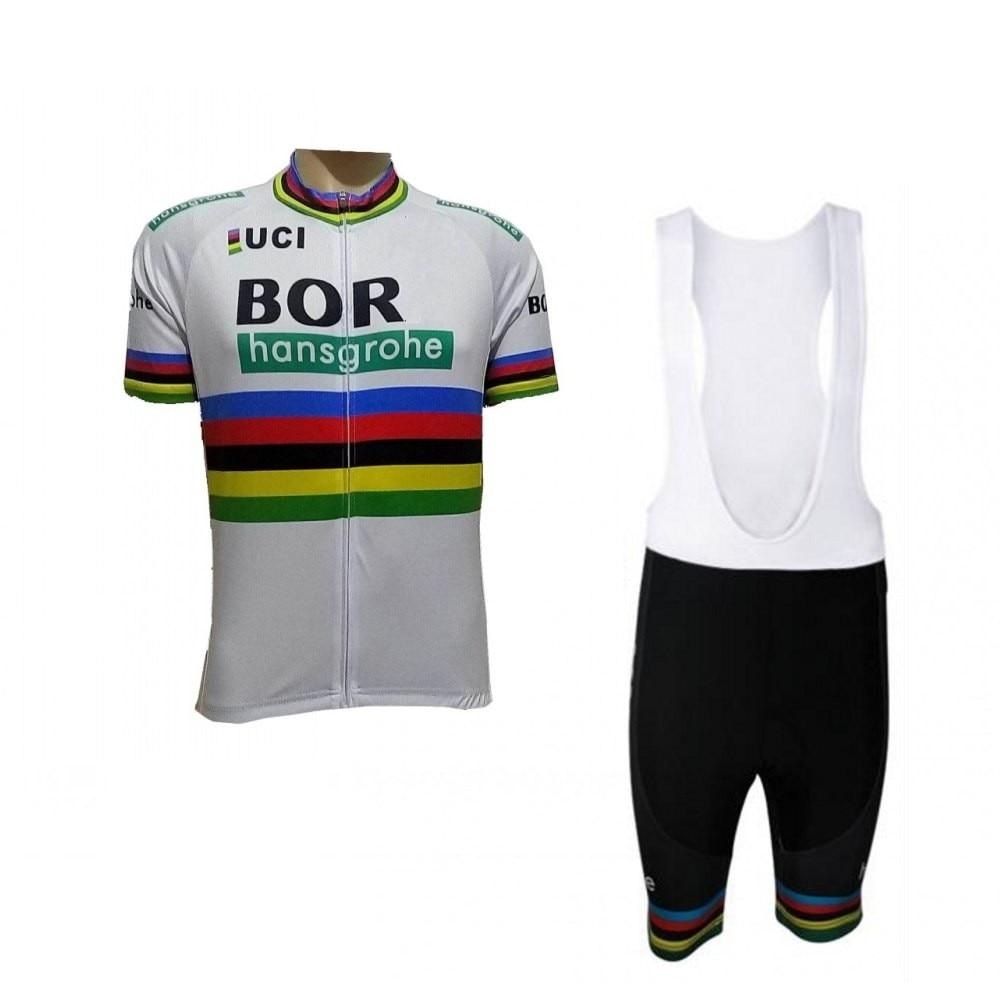 2018 uci pro team bora world champion white cycling jersey kits mens summer bike cloth MTB Ropa Ciclismo Bicycle maillot gel pad