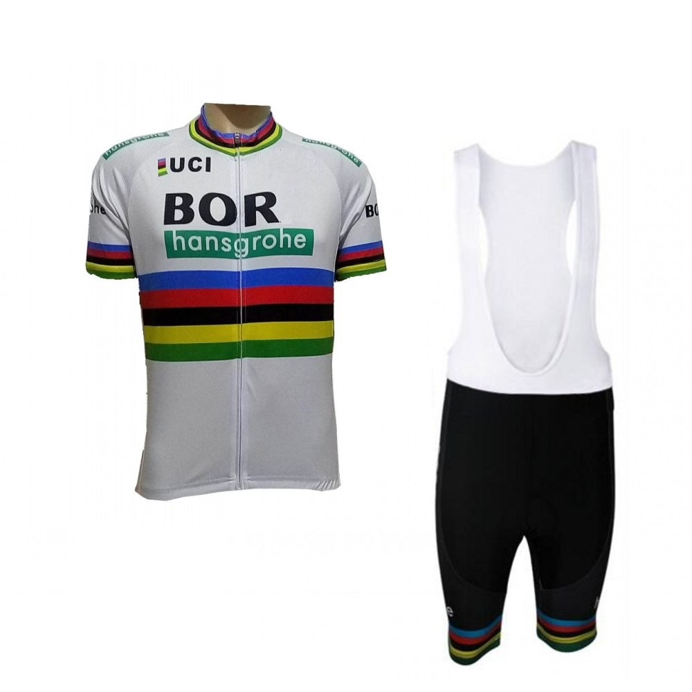 09874a6ec 2018 uci pro team bora world champion white cycling jersey kits mens summer  bike cloth MTB