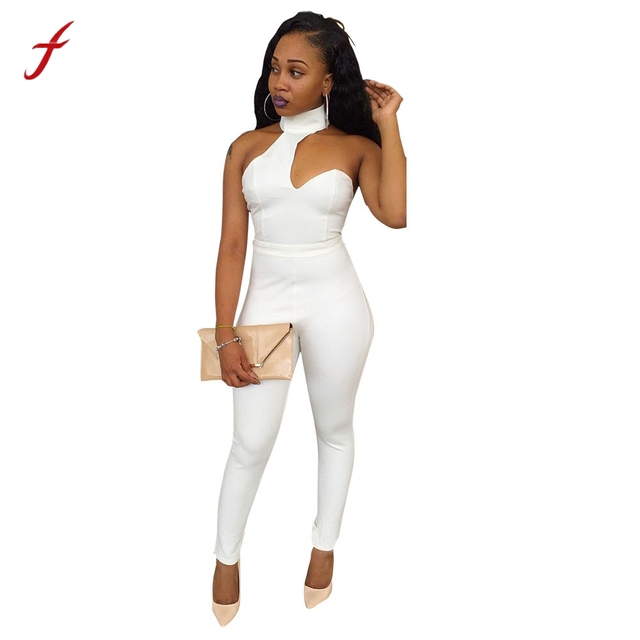 4859fba283c9 Sexy jumpsuit 2017 Overalls for Womens Skinny slim Sexy Fashion Sleeveless  Turtleneck Club Soild Europe And America Summer