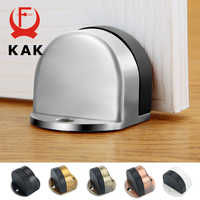 KAK Stainless Steel Door Stopper Non-punch Sticker Water-proof Door Holder Hidden Rubber Door Stop Furniture Door Hardware