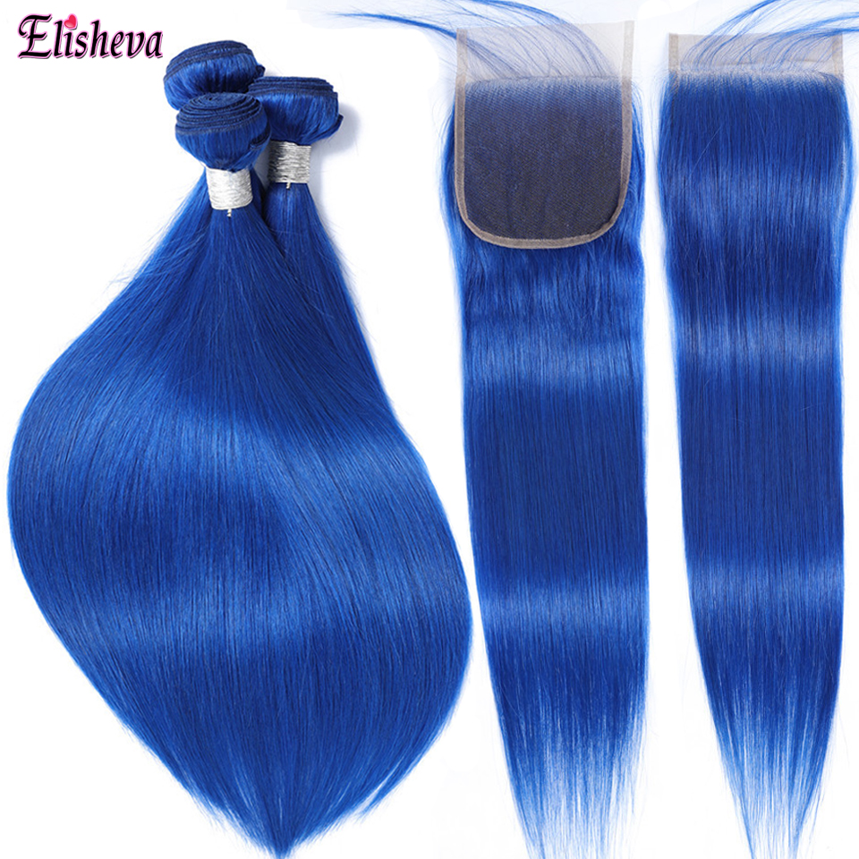 Blue Bundles With Closure Ombre Brazilian Straight Hair Remy Human Hair Weave 3 Bundles With Closure