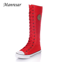 Manresar 2017 New Fashion Women's Canvas Boots Lace Zip Knee High Boots White Black Red Women Boots Flats Casual Tall Punk Shoes
