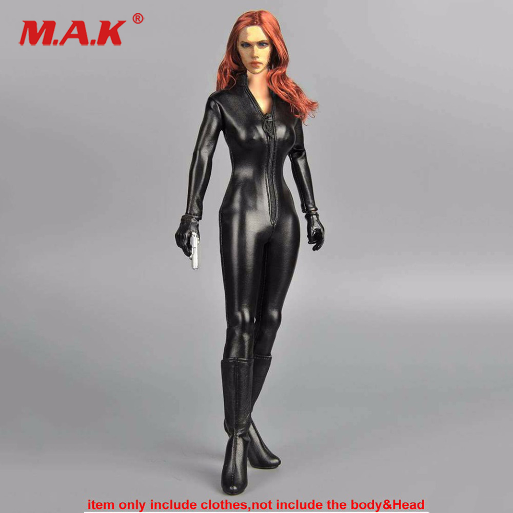 1/6 Black PU Female Jumpsuit Siamese Leather Corsetry Clothes Motorcycle Clothing Set For 12