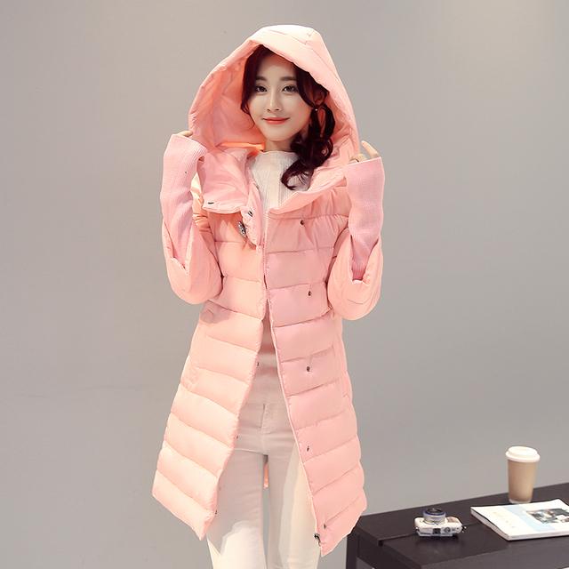 Mulheres Jaqueta de inverno 2016 Venda Quente Long Down-algodão Estudantes de Moda Slim Mulheres Roupas Plus Size S-2XL Parka Grosso jaquetas Casaco
