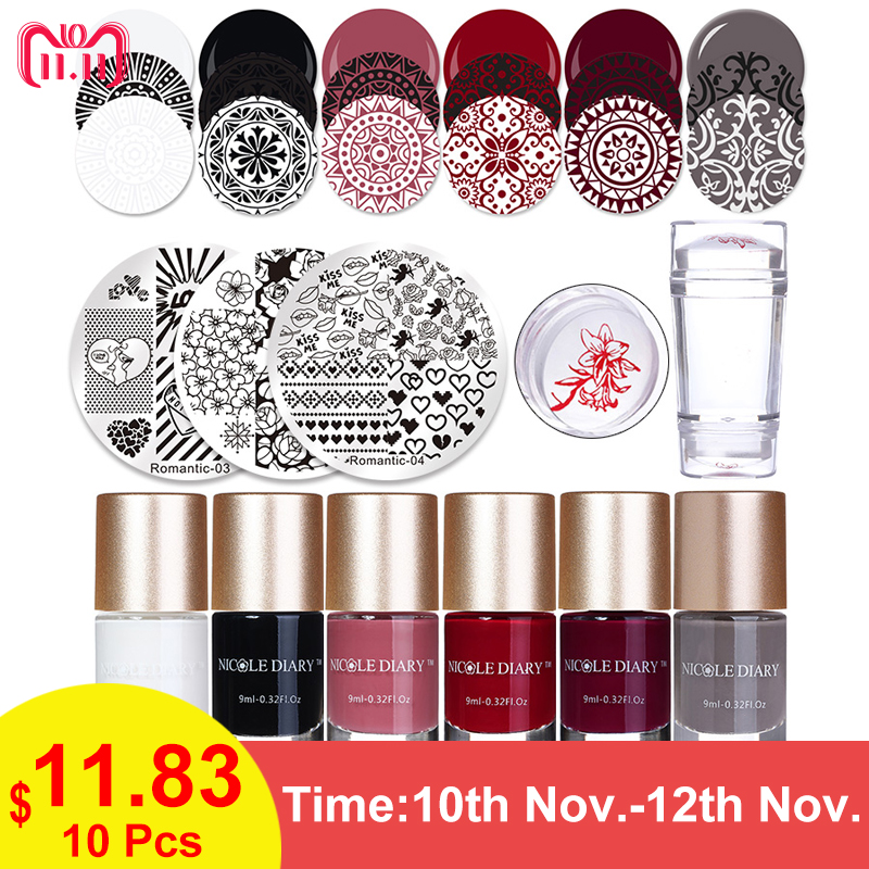 NICOLE DIARY Stamping Polish Image Plates Set Valentine Stamp Plate Printinting Polish Clear Stamper Scraper Nail Art Tools Kit promotion 50sets nail art polish stamping stamper scraper set manicure tools green red white 3 colors options