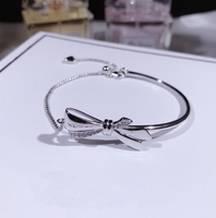 High Quality 925 Sterling Silver Bowknot Clear Cubic Zircon Bangles Bracelets for Women Sterling Silver Jewelry