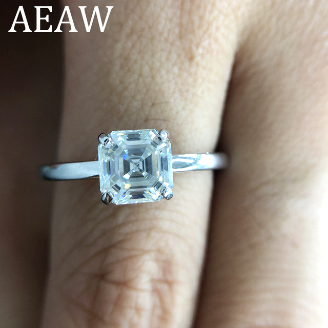 2 Carat 7mm Asscher Cut Moissanite Lab Diamond Ring Set HI Color Excellent Matching Band Ring For Women in Sterling Silver