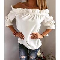 Women Blouse Puff Sleeve Slash Neck Soild Shirt Fashion Ladies Tops Strapless Off Shoulder Ruffles
