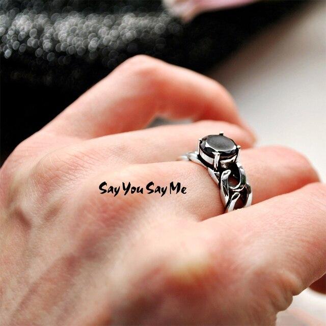 925 Sterling Silver Black Zircon Chain Rings Punk Style Adjustable Unisex Cuff R
