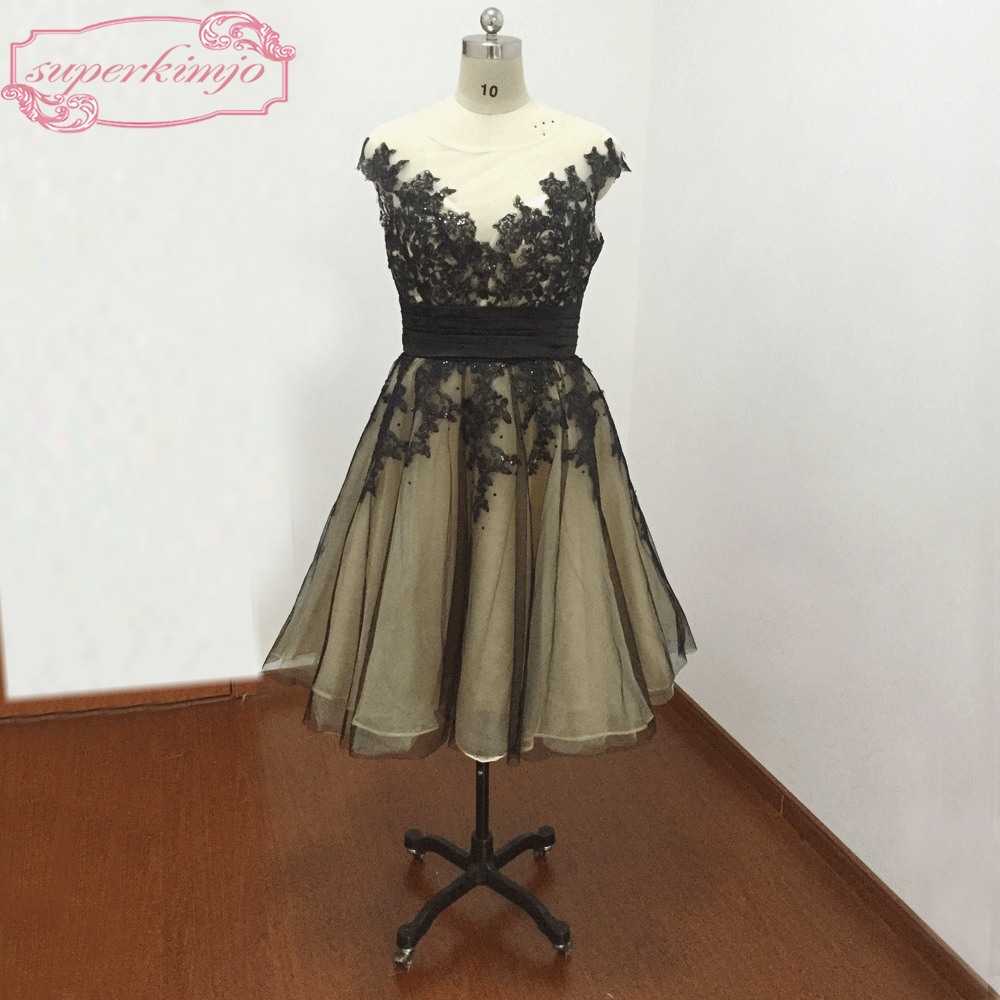 Black Prom Dresses Sequins Lace Appliques Beading Crystal Tea Length Evening Dresses Real Picture