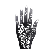 1Pcs Henna Hand Stencil Flower Glitter Airbrush Mehndi Large For Beauty Depicting Carved Carvings (S117L)