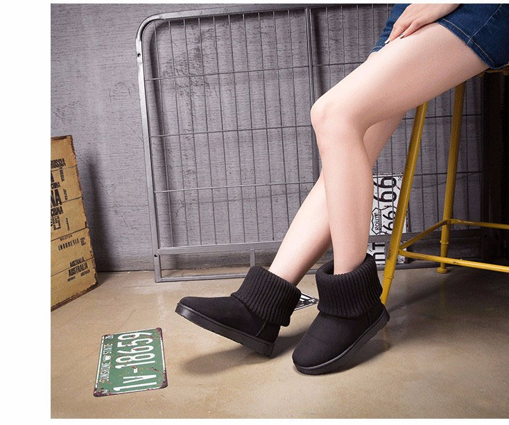 KUYUPP Patchwork Knitting Wool Women Snow Boots Winter Shoes 2016 Flat Heels Warm Plush Ankle Boots Slip On Womens Booties DX119 (39)