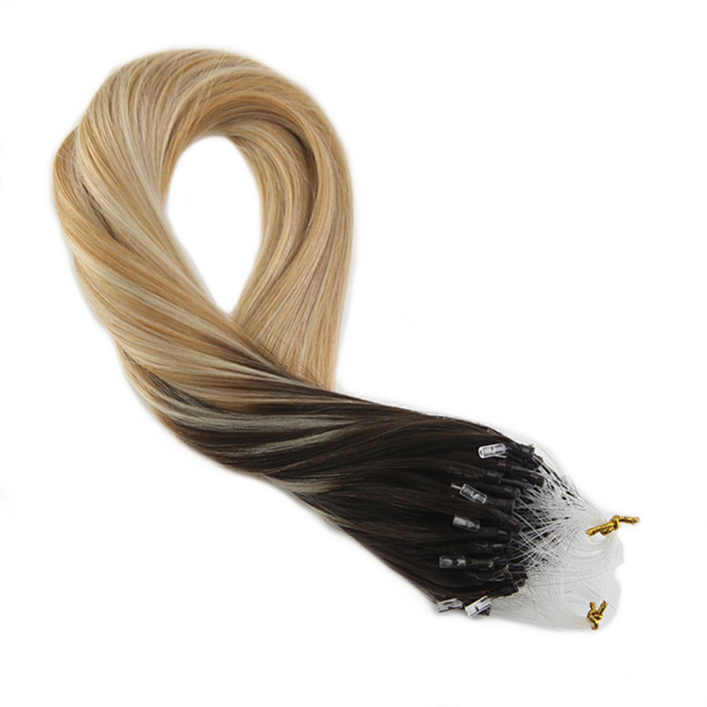 Moresoo Micro Loop Machine Remy Human Hair Extension 50 Gram #2/27/613 Darkest Brown Fading To Bleach Blonde And Caramel