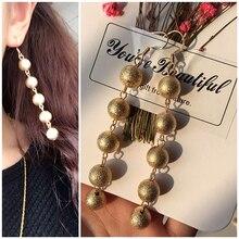 cute sweet cloth flower long dangle earrings for women accessories vintage pearl earrings jewelry gift 2019 women s earrings Charm Frosted Bead Imitation Pearl Earrings Long Dangle Earrings For Women Jewelry Accessories Female Fashion Gift