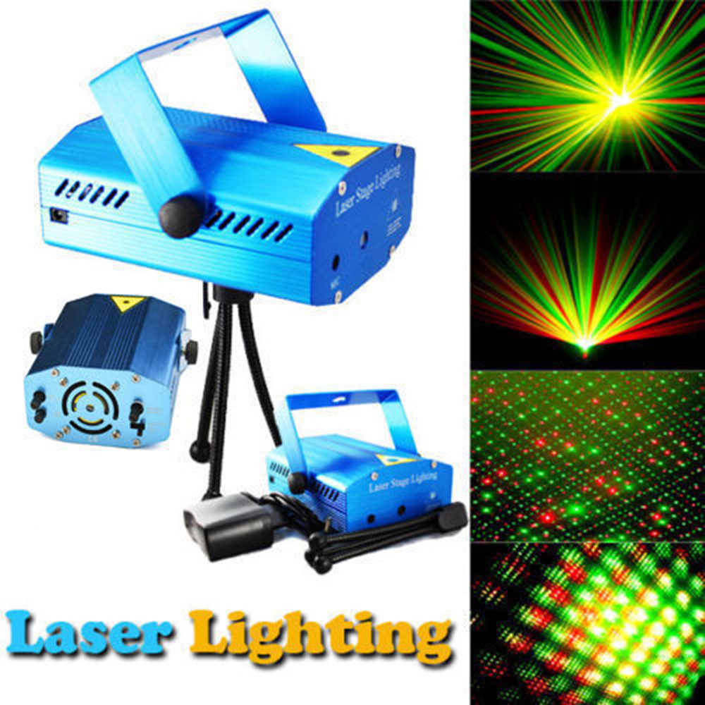 Blue Mini LED Laser Projector Red and Green Laser Stage Light Laser Lighting For Disco Party DJ Bar Club With EU OR  Plug laser stage lighting 48 patterns rg club light red green blue led dj home party professional projector disco dance floor lamp