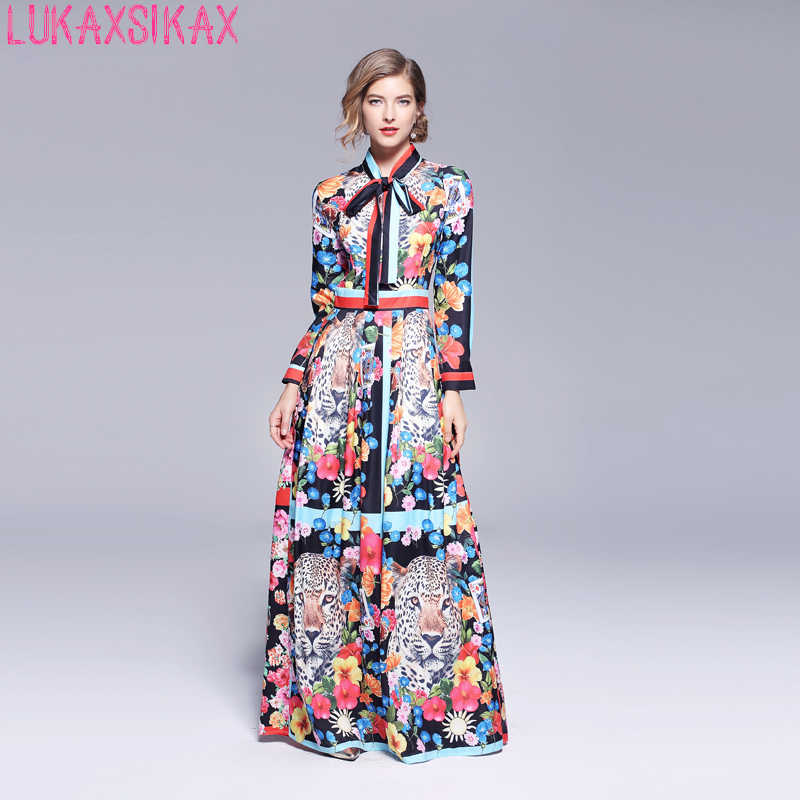 291415cd910f 2018 Autumn New Women Long Sleeve Dress High Quality Gorgeous Flowers Print  Shirt Runway Dress Elegant