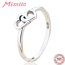 MISSITA 100% 925 Sterling Silver Romantic Heart to Rings for Women Jewelry  Brand Ring Wedding Anniversary Gift