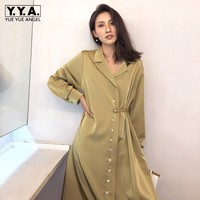 2019 Spring High Waist Long Sleeve Vintage Shirt Dress Women Elegant V Neck Loose Satin Midi Dress High Quality A Line Mujer