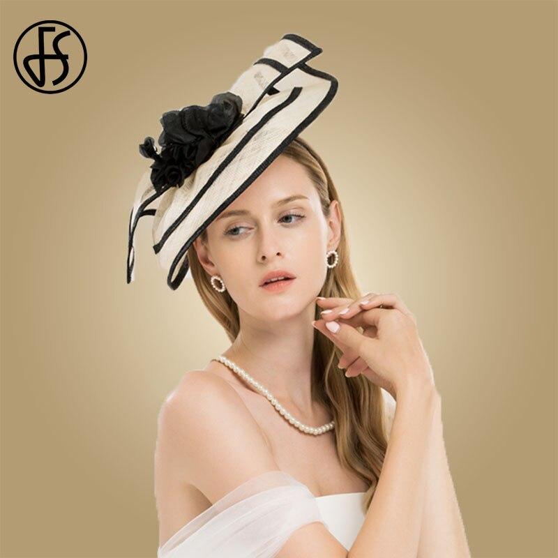 Sombreros elegantes de mujer para bodas, sombrero de cóctel de Sinamay con flores, vestido de iglesia de Kentucky - 4
