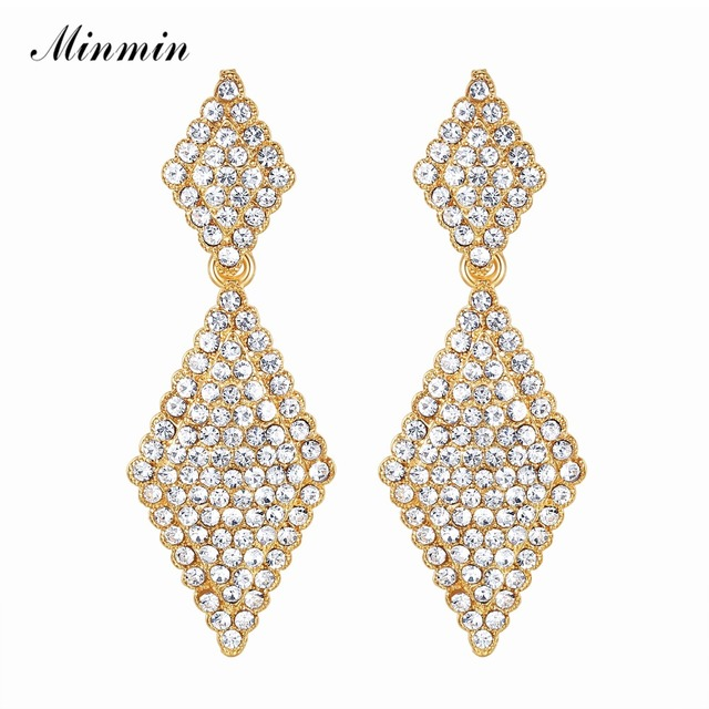 af6a1692b8584 US $2.38 45% OFF|Minmin Gold Color Crystal Big Geometric Drop Earrings for  Woman 2018 Fashion Clear Rhinestone Wedding Bride Party Jewelry EH1086-in  ...