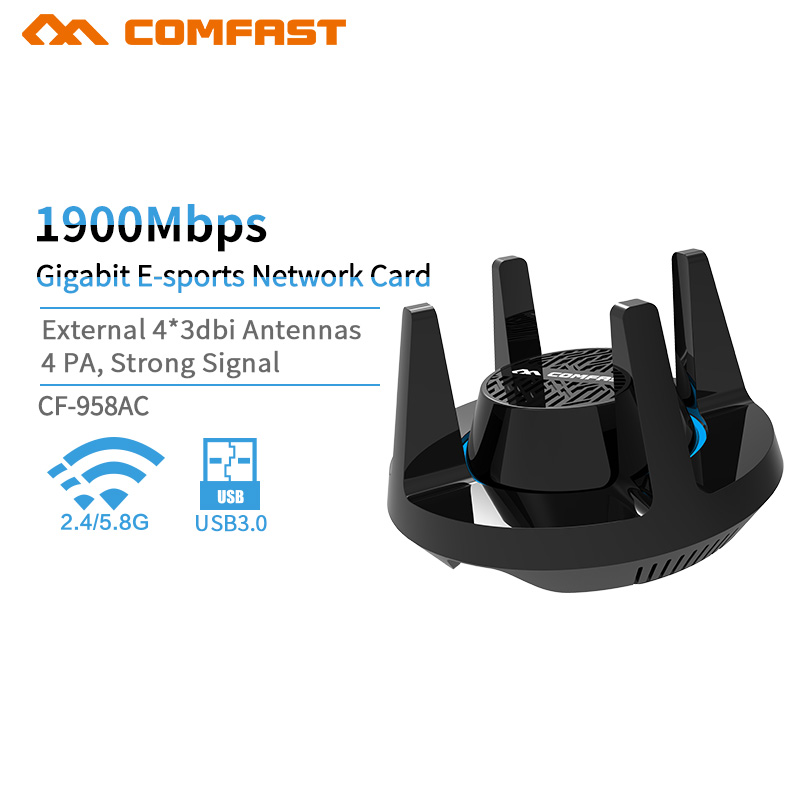 Haute Puissance 1900 Mbps Gigabit Jeu Sans Fil carte réseau USB 3.0 WiFi 2.4G et 5.8G Dongle Adaptateur 802.11a/ g/n/ac Ordinateur