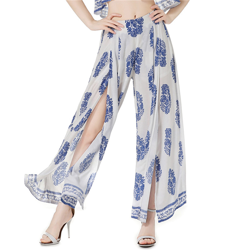 WKOUD Women's   Wide     Leg     Pants   Fashion Digital Printed Trousers Female Casual High Waist   Pants   Loose Split Streetwear P8407