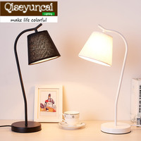 Qiseyuncai 2018 Nordic desk lamp simple creative art iron study table lamp Adjustable desk bedroom head eye protection lamp