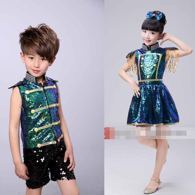 Girls Boys Sequined Ballroom Jazz Hip Hop Dance Competition Costumes for Kid Dancing Clothing Hoodie T Shirt Tops Pants Clothes