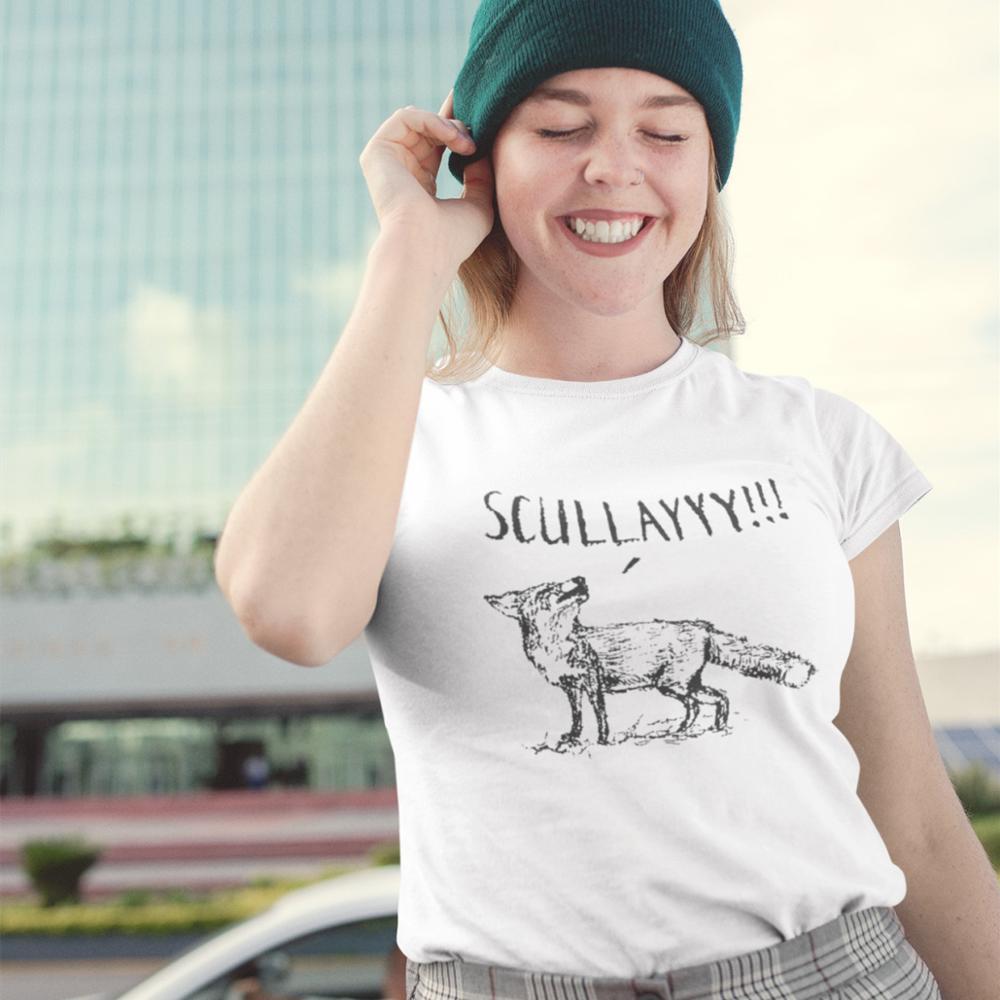 Mulder T-Shirt What A Certain Fox Says T Shirt Graphic Street Wear Women tshirt Oversize Funny O Neck White Ladies Tee Shirt