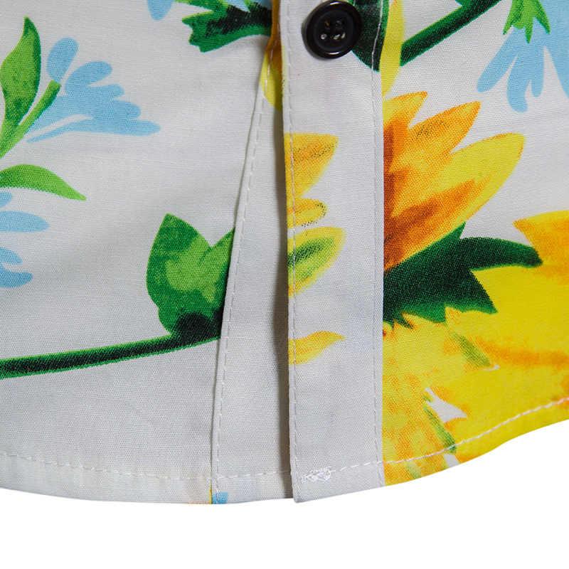 Стильные мужские рубашки в цветах с принтом подсолнуха, облегающие мужские рубашки с длинными рукавами, повседневные мужские рубашки для отдыха, гавайская рубашка, сорочка